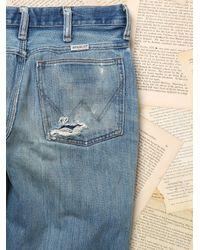 Free People - Blue Womens Paint Splattered Wrangler Jeans - Lyst