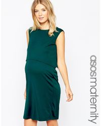 ASOS | Blue Maternity Nursing Dress With Drape Back And Double Layer | Lyst