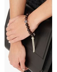 Loree Rodkin - Brown Carved Wood Sterling Silver Diamond and Sapphire Bracelet - Lyst