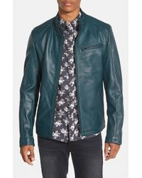 7 Diamonds | Blue 'norwell' Black Leather Moto Jacket for Men | Lyst