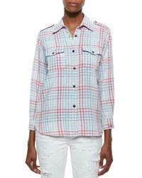 Current/Elliott - Blue The Perfect Plaid Cotton Shirt - Lyst