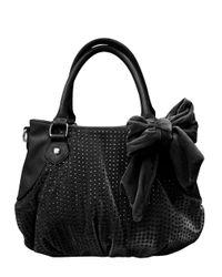 Betsey Johnson   Black Crystal Palace Faux Leather Velvet Satchel   Lyst