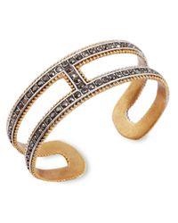 Lucky Brand - Metallic Two-Tone Pavé Cuff Statement Bracelet - Lyst