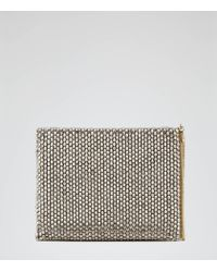 Reiss | Metallic Cindy Beaded Clutch Bag | Lyst