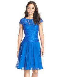 Adrianna Papell - Blue Pleated Lace Drop Waist Dress - Lyst