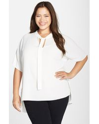 Vince Camuto | White Tie Neck Blouse | Lyst