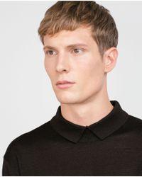 Zara | Brown Knit Polo Shirt for Men | Lyst