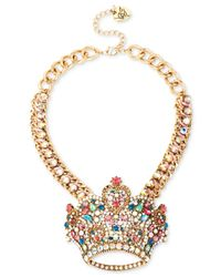 Betsey Johnson - Multicolor Gold-tone Crystal Crown Frontal Necklace - Lyst
