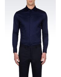 Armani | Blue Shirt In Stretch Cotton for Men | Lyst