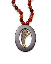 Nest | Brown Agate & Black Horn Pendant Necklace | Lyst