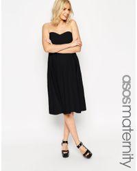 ASOS - Black Maternity Bandeau Midi Skater Dress - Lyst