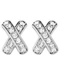 Dyrberg/Kern | Metallic Dyrberg/kern Cross Diamante Stud Earrings | Lyst