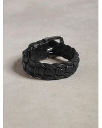 John Varvatos | Black Braided Leather Cuff for Men | Lyst
