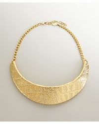 A.V. Max - Metallic Gold Python Embossed Leather Collar Necklace - Lyst