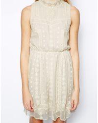 Aryn K. - Natural Pretty Sleeveless Mini Silk Dress - Lyst