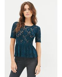 Forever 21 | Blue Contemporary Textured Lace Peplum Top You've Been Added To The Waitlist | Lyst