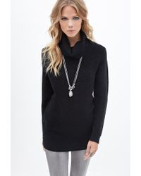 Forever 21 | Black Waffle Knit Turtleneck Sweater You've Been Added To The Waitlist | Lyst
