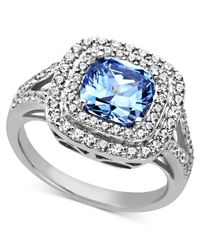 Arabella - Blue And White Swarovski Zirconia Two Row Cushion Cut Ring (5-1/5 Ct. T.w.) - Lyst