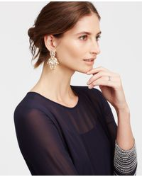 Ann Taylor - Metallic Crystal Drop Statement Earrings - Lyst