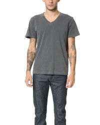 Splendid Mills | Gray Pigment Dyed V Neck Tee for Men | Lyst