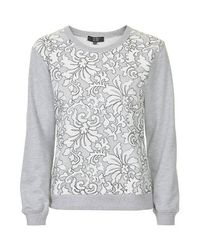 TOPSHOP   Gray Lace Sweatshirt By Goldie   Lyst