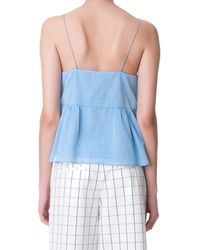 Tibi - Blue Summer Space Dyed Ruffle Cami - Lyst