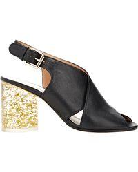 Maison Margiela | Black Cylindrical-heel Slingback Sandals | Lyst