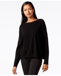 Eileen Fisher - Black Boat-neck Cashmere Sweater - Lyst