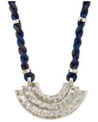 Lucky Brand | Metallic Silver-tone Blue Cord Pendant Necklace | Lyst