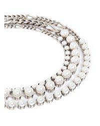 Lanvin - Metallic Glass Pearl Curb Chain Necklace - Lyst