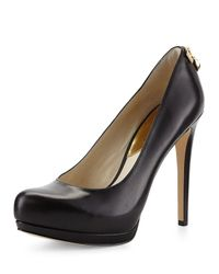 MICHAEL Michael Kors | Black Hamilton Leather Platform Pumps | Lyst