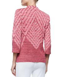 Misook - Red 3/4-sleeve Diagonal Lines Jacket - Lyst