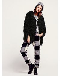 Free People - Black Faithful Shaggy Jacket - Lyst