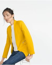 Zara | Yellow Blazer With Zips | Lyst