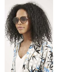 TOPSHOP - Brown Luna Brow Bar Round Sunglasses - Lyst