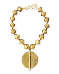 Nest | Metallic Brass Beaded Pendant Necklace | Lyst