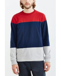 Obey | Blue Staten Blocked Long-sleeve Tee for Men | Lyst