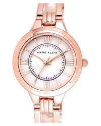 Anne Klein | Pink Round Open Bangle Watch | Lyst