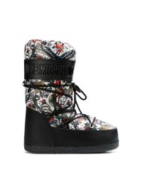 Love Moschino - Black Graphic-Print Lace-Up Boots - Lyst