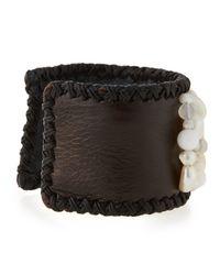 Nakamol - White Freshwater Pearl & Leather Cuff Bracelet - Lyst