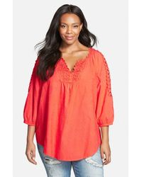 XCVI | Pink Xcvi 'capitola' Embroidered Cotton Voile Tunic | Lyst