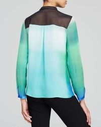 Elie Tahari - Green Chelsea Ombre Silk Blouse - Lyst