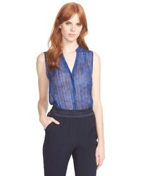 Rebecca Taylor | Blue Print Silk Blend Top | Lyst