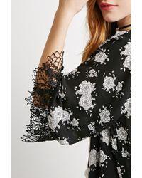 Forever 21 - Black Rose Chiffon Kimono - Lyst