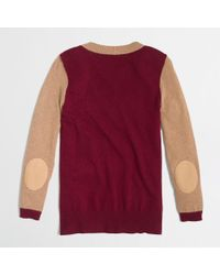 J.Crew - Red Colorblock Elbow Patch Sweater - Lyst