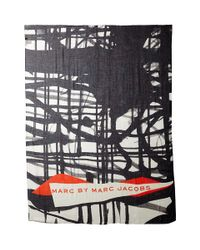 Marc By Marc Jacobs | Black Drippy Plaid Scarf | Lyst