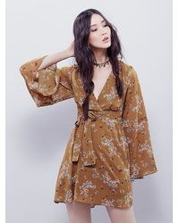 Free People | Natural Lilou Printed Mini Dress | Lyst