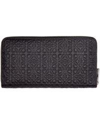 Loewe - Black Leather Engraved Logo Wallet - Lyst