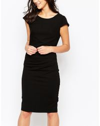 Ichi | Black Capped Sleeve Pencil Dress | Lyst