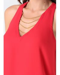 Bebe - Red Holly Chain Top - Lyst